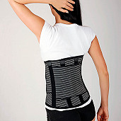 Lumbar belt with reinforcements, high