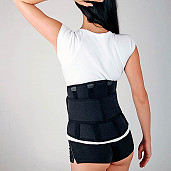 Lumbar belt with reinforcements, neoprene