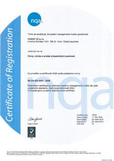 Certifikát ISO PANOP CZ