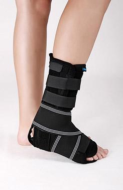 Ankle brace with three splints