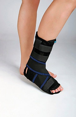 Ankle brace with three splints