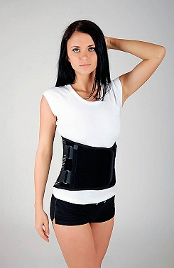 Lumbar belt belt with reinforcements, high